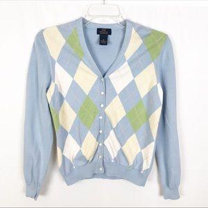 BROOKS BROTHERS Argyle Cardigan Sweater-Blue-M
